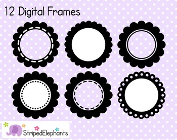 Scalloped Circle Digital Frame Collection