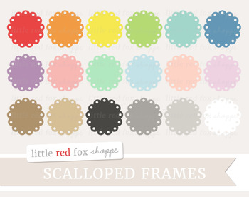 Scalloped Circle Frame Clipart; Scallop, Tag, Banner, Label