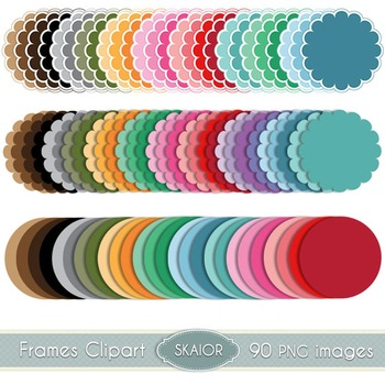 Scalloped Circle Frames Clipart Pastel Dotted Rainbow Printable Scrapbooking