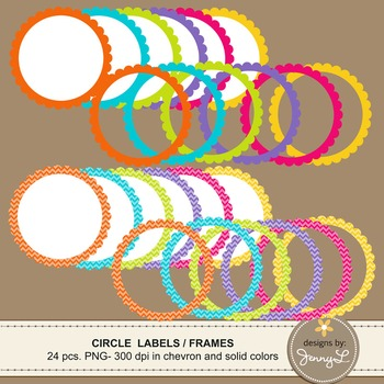 Scalloped Circle Labels and Frames in Chevron and Bright Solid Colors Clipart