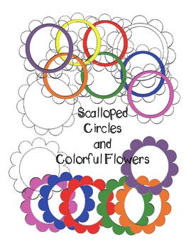 Scalloped Circles and Colorful Flowers ClipArt