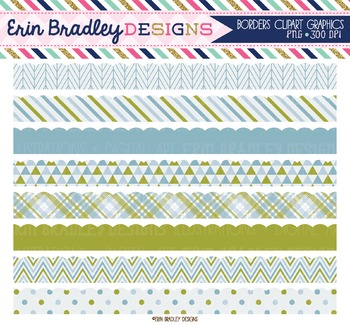 Scalloped Clipart Borders - Blue and Olive