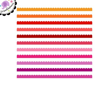 Scalloped Digital Ribbon Borders