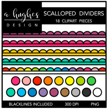 Scalloped Dividers Clipart {A Hughes Design}