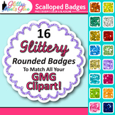 Scalloped Frame Clip Art: Round Rainbow Glitter Labels {Glitter Meets Glue}