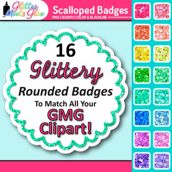 Scalloped Frame Clip Art {Round Rainbow Glitter Labels for