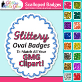 Scalloped Frame Clip Art | Oval Rainbow Glitter Labels for Worksheets