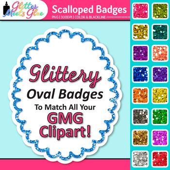 Scalloped Frame Clip Art {Oval Rainbow Glitter Labels for