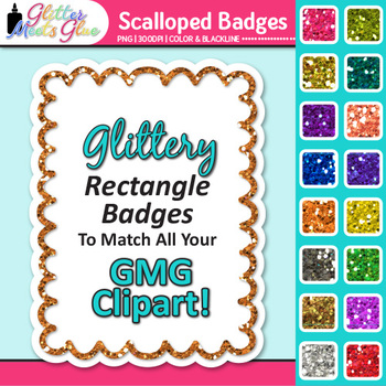 Scalloped Frame Clip Art {Rectangle Rainbow Glitter Labels for Worksheets}