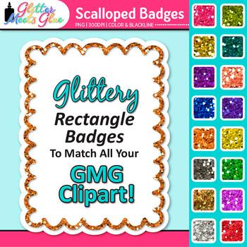 Scalloped Frame Clip Art   Rectangle Rainbow Glitter Labels for Worksheets