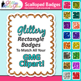 Scalloped Frame Clip Art: Rectangle Rainbow Glitter Labels