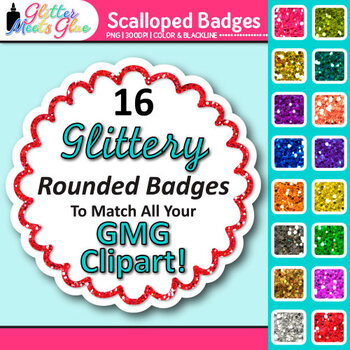 Scalloped Frame Clip Art   Round Rainbow Glitter Labels for Worksheets 1