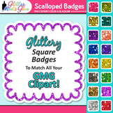 Scalloped Frame Clip Art | Square Rainbow Glitter Labels for Worksheets