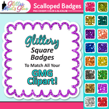 Scalloped Frame Clip Art | Square Rainbow Glitter Labels for Worksheets
