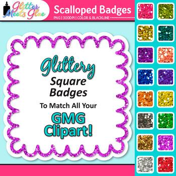 Scalloped Frame Clip Art: Square Rainbow Glitter Labels {Glitter Meets Glue}