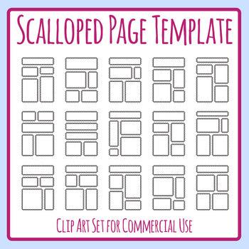 Scalloped Edge Worksheet Templates Clip Art Set for Commercial Use