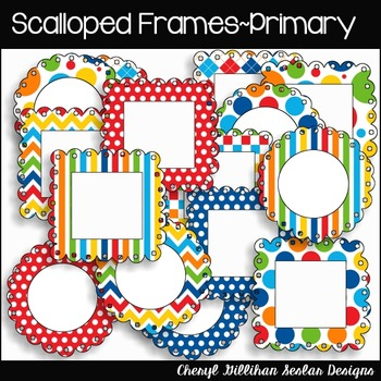 Scalloped Frames (16) Primary Colors Clipart Collection