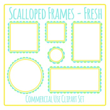 Scalloped Frames Borders Fresh Colors Clip Art Set Commercial Use