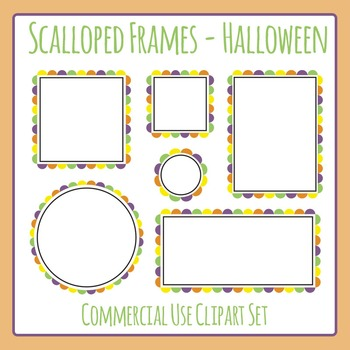 Scalloped Frames Borders Halloween Colors Clip Art Set Commercial Use