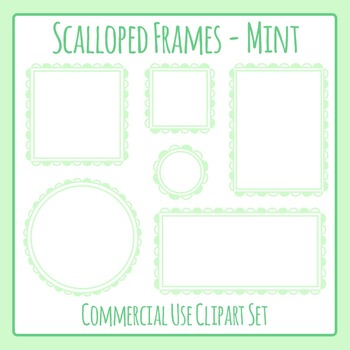 Scalloped Frames Borders Mint Clip Art Set Commercial Use