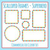 Scalloped Frames Borders Superhero Colors Clip Art Set Commercial Use
