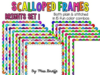 Scalloped Frames Page Borders Clip Art {Brights Set 1}