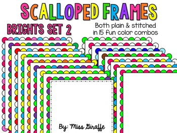 Scalloped Frames Page Borders Clip Art {Brights Set 2}