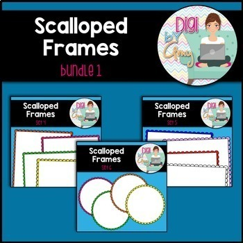 Scalloped Frames and Borders Clip Art Bundle 1