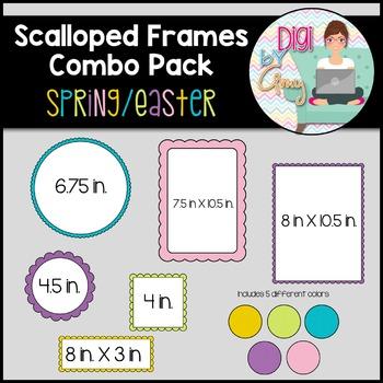 Scalloped Frames clipart - Spring/Easter - 60 frames