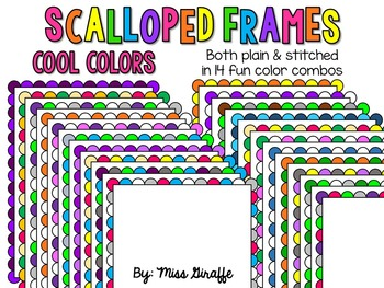 Scalloped Frames Page Borders Clip Art {Cool Colors}
