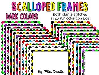 Scalloped Frames Page Borders Clip Art {Dark Colors}