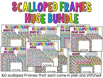 HUGE BUNDLE of Scalloped Frames Page Borders Clip Art