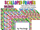 Scalloped Frames Page Borders Clip Art {Holidays}