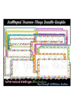 Scalloped Frames Mega Bundle- Bright Clipart Collection