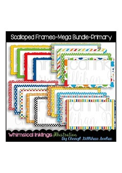 Scalloped Frames-Mega Bundle-Primary-Clipart Collection