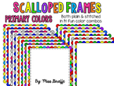 Scalloped Frames Page Borders Clip Art {Primary Colors}