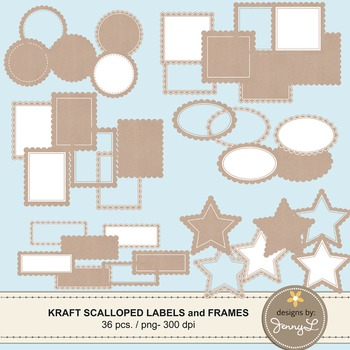 Scalloped Kraft Labels and Frames Clipart