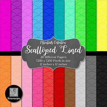 Scalloped Lined 12x12 Digital Paper (Basic Colors) - Comme