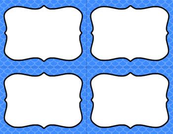 Blank Task Cards - Basics: Mermaid (Scalloped)   Editable PowerPoint
