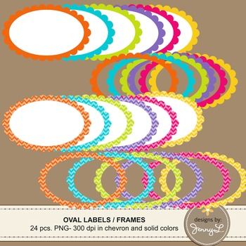 Scalloped Oval Labels and Frames in Chevron and Bright Sol