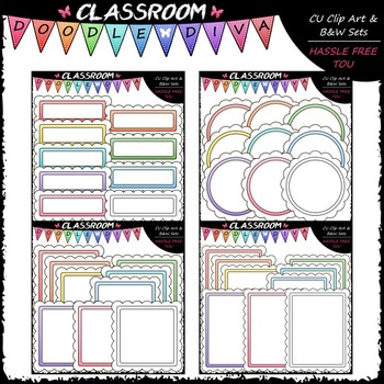 Scalloped Pastel Basics Clip Art & B&W Bundle (4 Sets)
