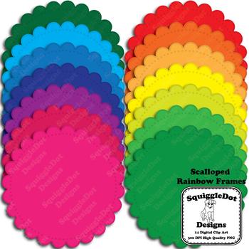 Scalloped Rainbow Frames Clip Art