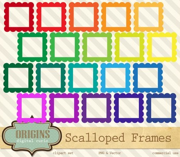Scalloped Rainbow Frames Clipart