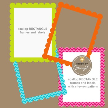 Scalloped Rectangle Labels and Frames in Chevron and Bright Solid Colors Clipart