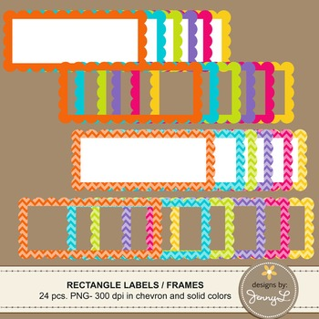 Scalloped Rectangle (small) Labels and Frames in Chevron and Bright Solid Colors