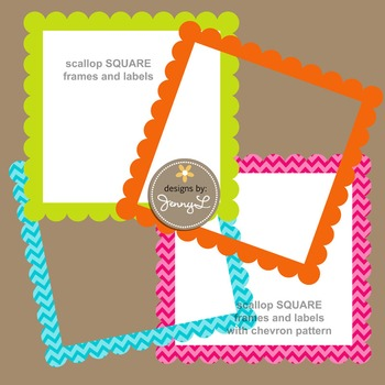 Scalloped Square Labels and Frames in Chevron and Bright Solid Colors Clipart