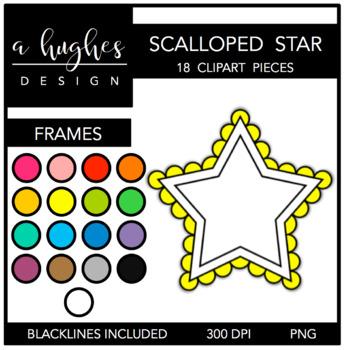 Scalloped Star Frames Clipart {A Hughes Design}