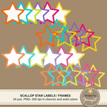 Scalloped Star Labels and Frames