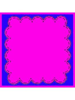 Scalloped Stitched Square Frames Color Inside and Color Borders