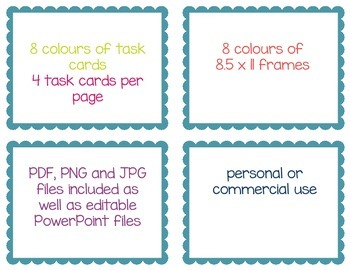 Scalloped Task Card and Border Templates - Blank and Editable